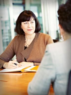 Lynn Hagerman, listening to client